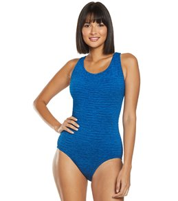 Penbrooke Krinkle Chlorine Resistant Cross Back One Piece Swimsuit (D-Cup)