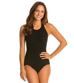 Penbrooke Krinkle Chlorine Resistant Mastectomy High Neck One Piece Swimsuit