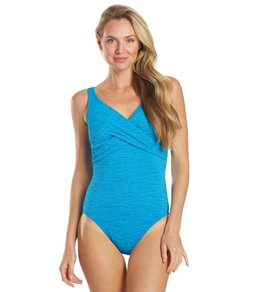 Penbrooke Krinkle Chlorine Resistant Cross Over One Piece Swimsuit