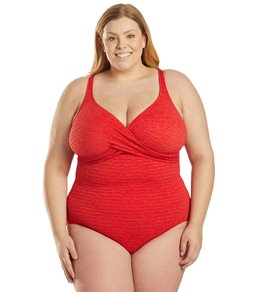 Penbrooke Krinkle Plus Size Chlorine Resistant One Piece Cross Over Swimsuit
