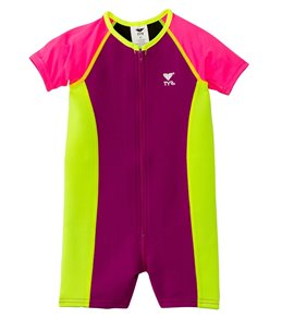 TYR Girls' UPF 50+ Short Sleeve Solid Thermal Suit (Toddler, Little Kid, Big Kid)