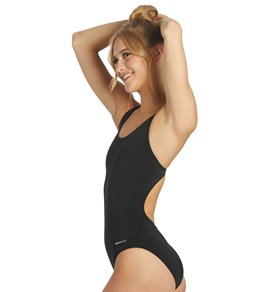 Sporti Poly Pro Solid Wide Strap One Piece Swimsuit