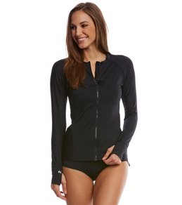 Beach House Women's Beach Solids Ava Front Zip Long Sleeve Rashguard