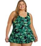 Sporti Plus SizeTropicalPalm Leaf Swim Dress