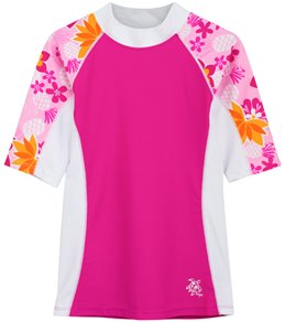 Tuga Girls' Tropical Punch Seaside Short Sleeve Rash Guard (Toddler, Little Kid, Big Kid)
