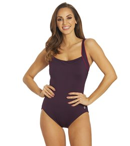 TYR Women's Solid Square Neck Controlfit Chlorine Resistant One Piece Swimsuit