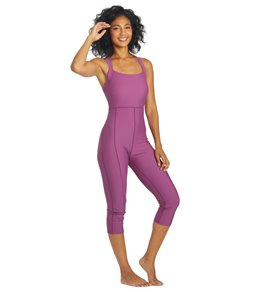 Sporti Active Solid One Piece Cropped Swim Unitard