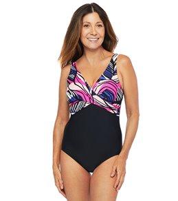 Maxine Zebra Leaf Wrap Front One Piece Swimsuit