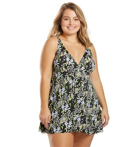 Penbrooke Plus Size Praire Dance V Neck Swim Dress