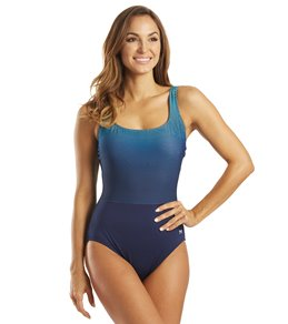 TYR Women's Fishnet Scoop Neck Controlfit Chlorine Resistant One Piece Swimsuit